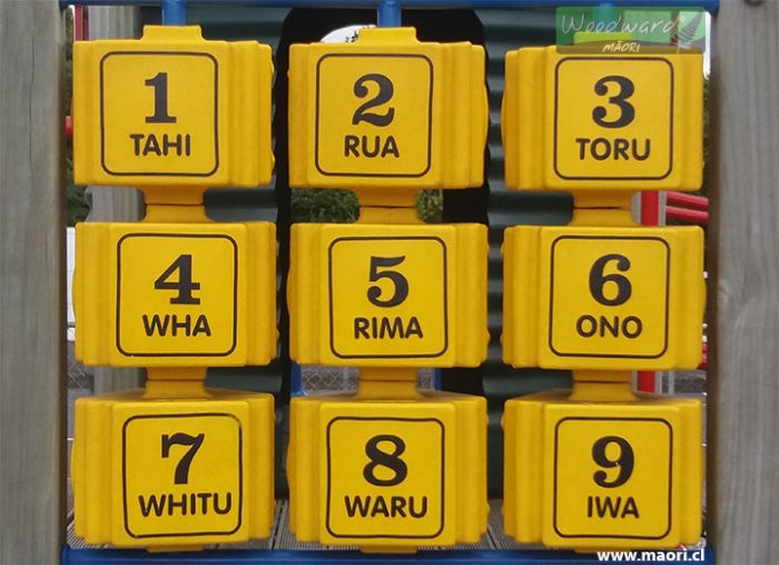 Maori numbers 1 to 9 at a playground in New Zealand