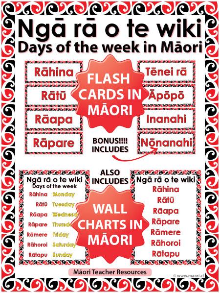 Days of the week in Māori - Flash Cards / Charts - Ngā rā o te wiki