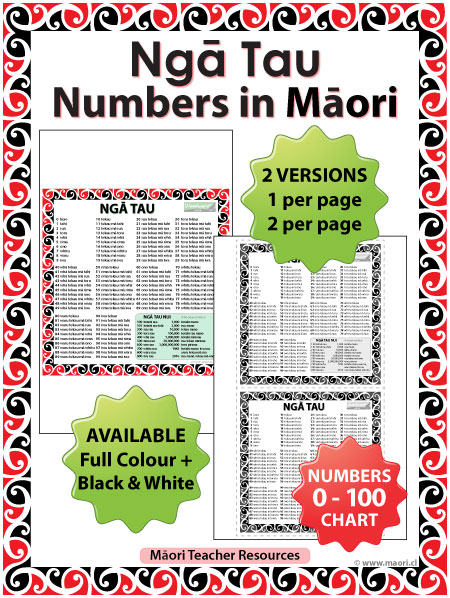 Ngā Tau - Māori Numbers Chart - Teacher Resource